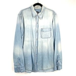 NSF distressed faded chambray button down shirt XL